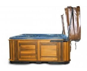 An open hot tub with a cabinet mount assist