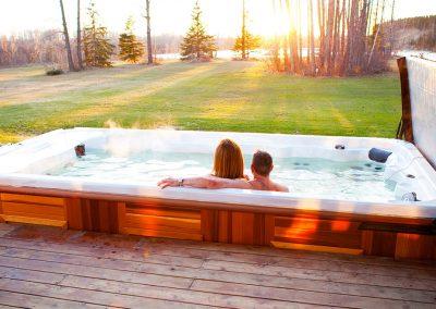 swim spa wolverine couple fun